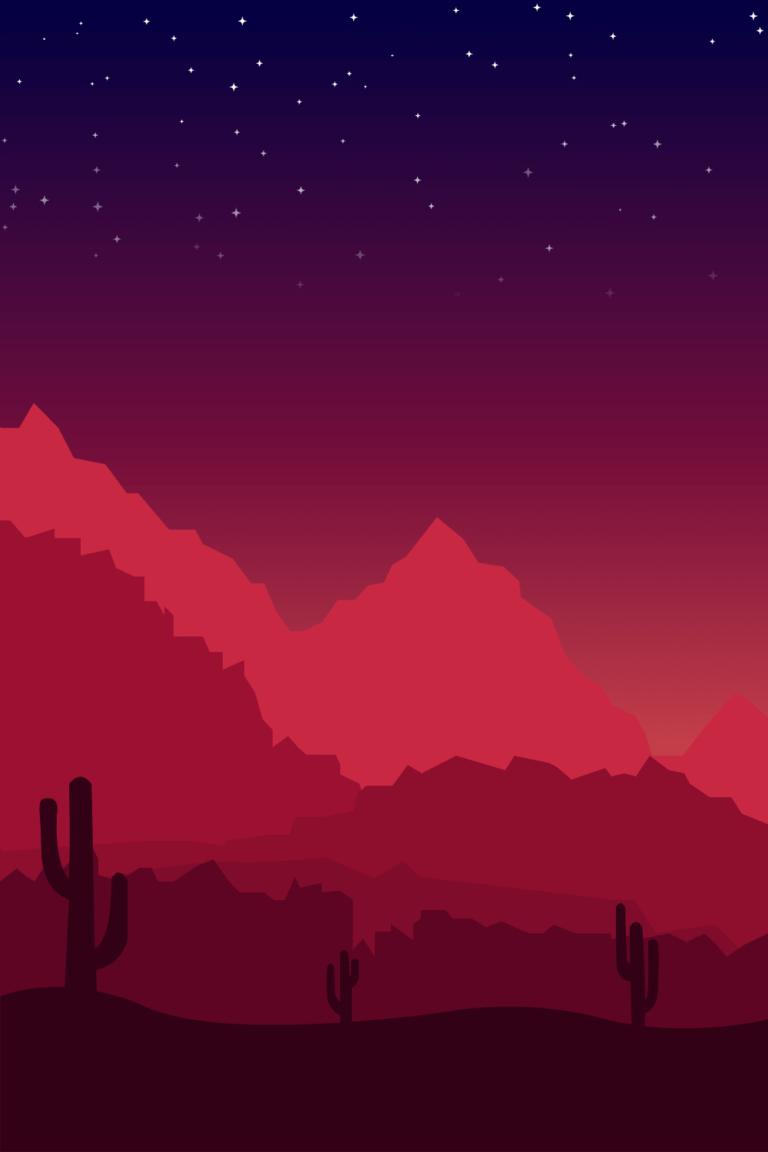 Illustration montagne couché de soleil